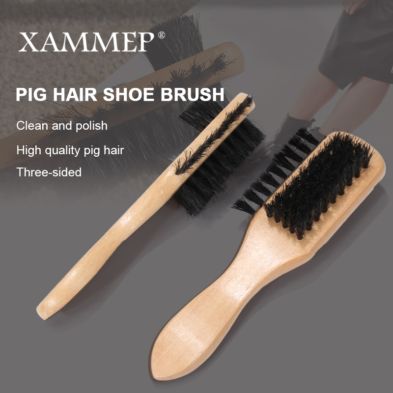 Pig Hair Shoe Brush Wooden Handle Buffing Brush For Genuine Leather Shoes For Men Dress Shoes For Women Boots Leather Care