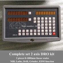 Envío libre torno/fresadora/taladro/EDM/CNC máquina de 2 ejes de lectura digital DRO y la escala lineal/lineal sensor