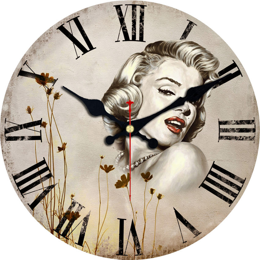 Shabby Chic,Marilyn Monroe Wall Clocks,Vintage Wall Clock,Wall Watches Home Decor,Big Silent Wall Clock