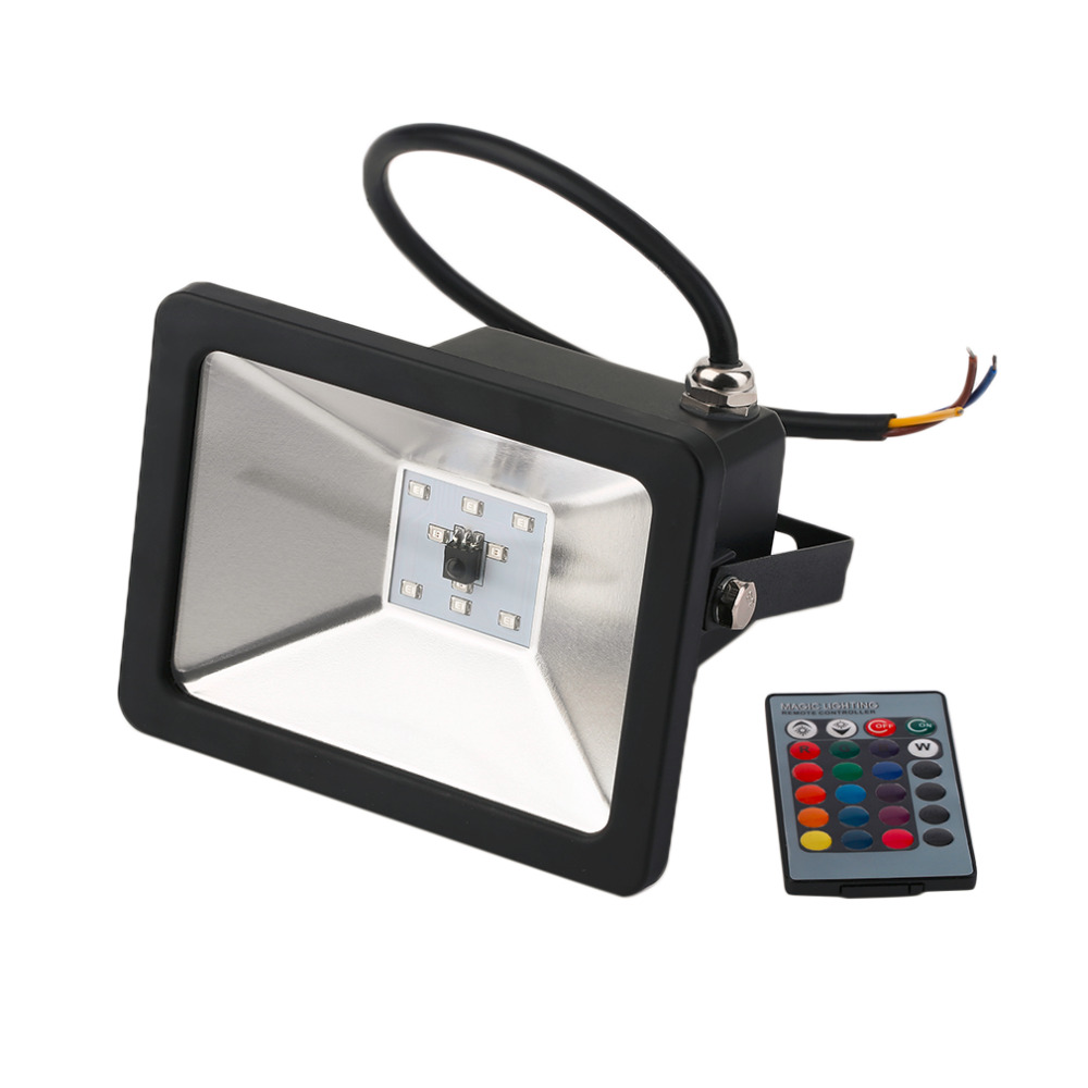 10W RGB LED Flood Light Black AC85-265V Fluter Lamp Landscape Outdoor Lighting Floodlight Spotlight For Street Highway