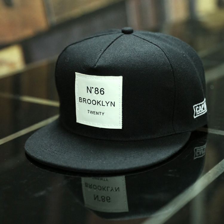 Men/'s BROOKLYN Letters Patch Leather Baseball Cap