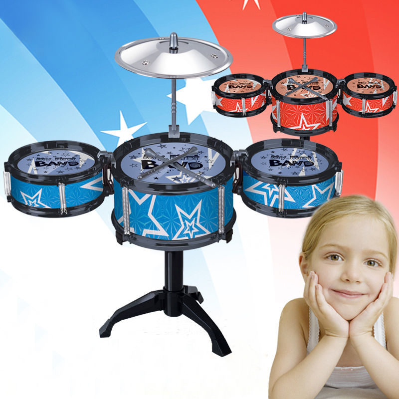 New Childrens jazz drum percussion kids Musical Instruments gift toy blue and red Drum k ...