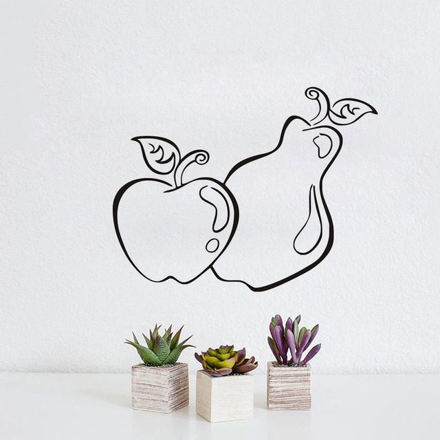 Fruits Wall Stickers Apple Pear Food Wall Decor Decals Waterproof ...