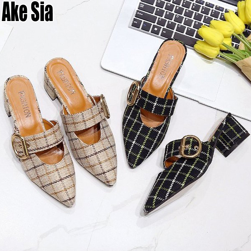 New Women Lady Babouche Pointed Toe Buckle Half Scuff Mules Slides Hollow Out Woman High Chunky Heels Casual Slippers Shoes A518