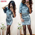 OOTN O-neck butterfly sleeve velvet dress party outfit blue bodycon mini dresses lady office club clothes spring winter