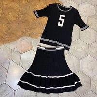 Элегантный комплект с юбкой женский 2019 летний комплект с юбкой с коротким рукавом топы и средней длины удлиненная юбка модная блузка и юбка