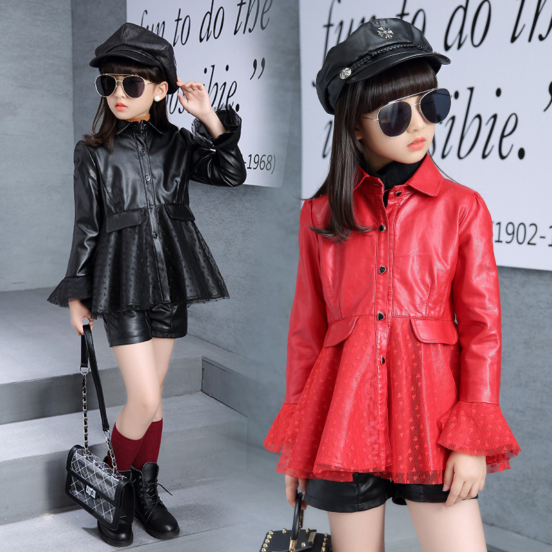 купить Children Girl Clothing PU Leather Lace Coat Jacket 2018 New Girls Outerwear Faux Leather Jacket Color Black / Red 110-160 по цене 2236.44 рублей
