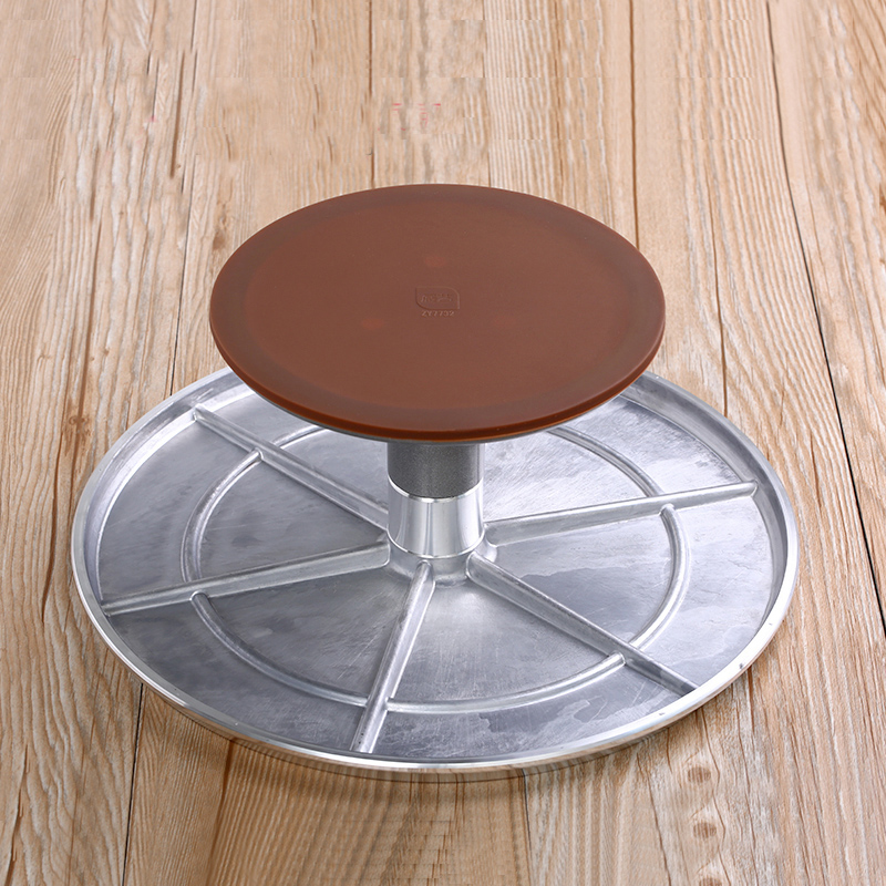 12 Inch Aluminum Alloy Cakes Decoration Turntable Manually Rotating Round Shaped Cake Stand Cake Mounting Pattern