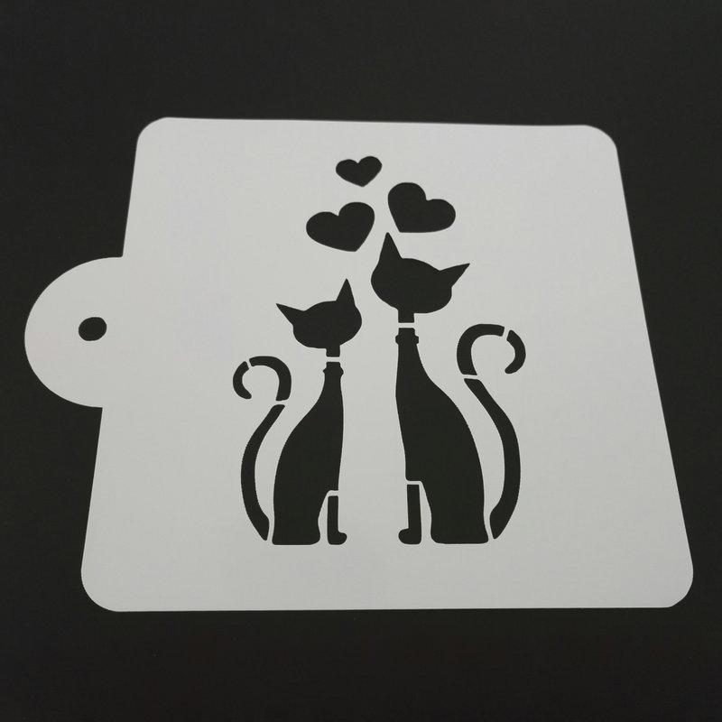 5 tums hjärta katt Plastkaka Stencil Mall Mögelkaka Dekoreringsverktyg Baktillbehör