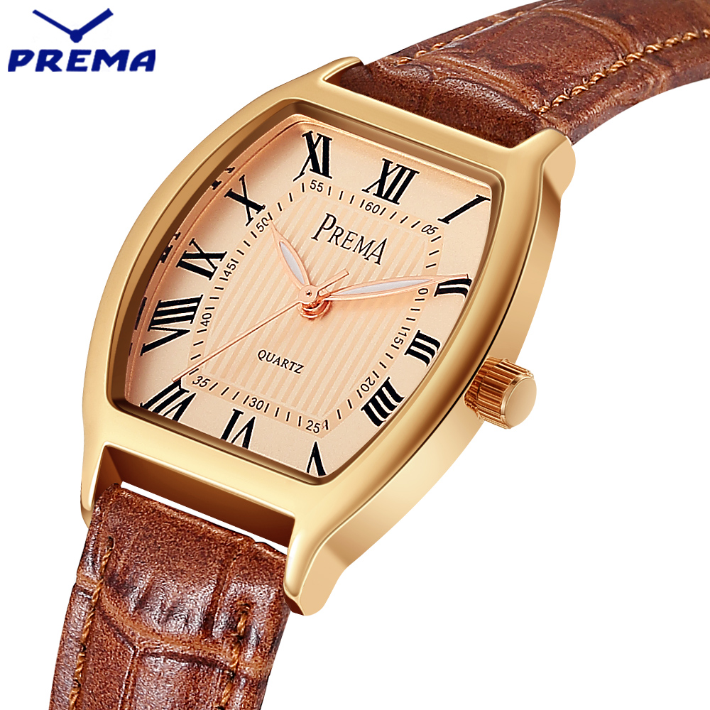 relogio feminino prema women watches montre femme marque de luxe leather band tonneau shape. Black Bedroom Furniture Sets. Home Design Ideas