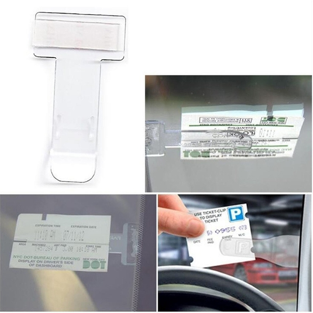 Transparent 2 pcs/set Plastic Car Parking Ticket Clamp 7.5x4x0.10cm Ticket Clip Plastic Holder in Stock