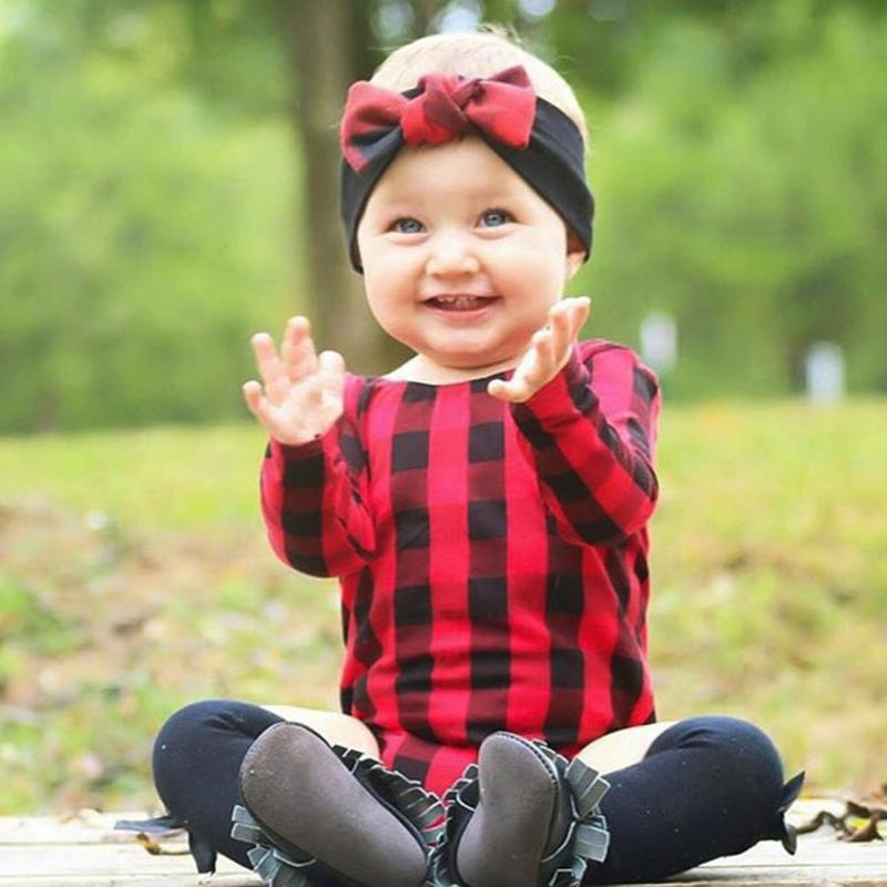 Spring Newborn Baby Girls O-Neck Red Plaid Long Sleeve Romper Jumpsuit Baby Girls Cotton ...