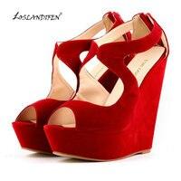 LOSLANDIFEN 2018 New Women's Pumps High Heels Sandals Shoes Woman Wedge Peep Toe Platforms Gladiator Red Cross Strap Shoes 391 2