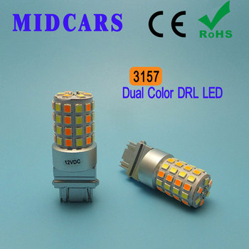 MIDCARS 3157 Led Bulbs Brake Turn Signal Light Extremely Bright Amber/White Dual Color Switchback Led Dual Color 1xhigh power 1157 5630 20smd dual color type 2 switchback white amber yellow switchback led drl turn signal parking light bulbs
