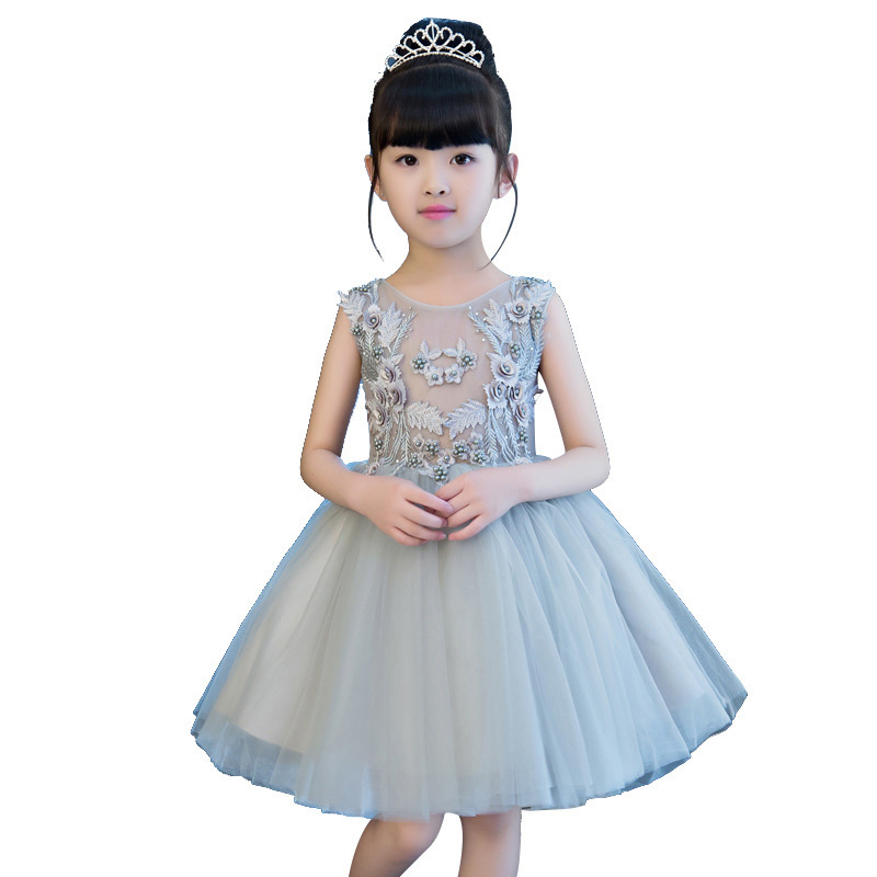 Children Girl Flowers Decoration Lace Dress Elegant Sleeveless Kids Costume Birthday Party Dress Kids Princess For Wedding E126 biodroga антистрессовая сыворотка препятствующая фотостарению biodroga skin booster anti uv stress serum 43369 75 мл page 8