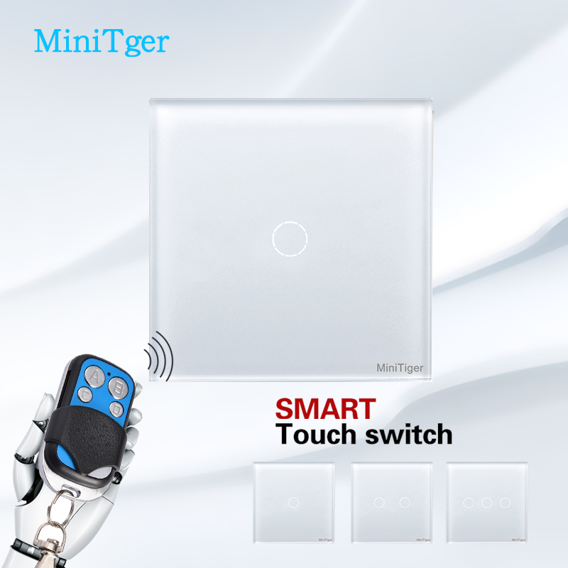 MiniTiger EU Standard  Remote Control Switch Luxury Wall Touch Switch,1 2 3 Gang 1 Way Touch Screen Light Switch smart home eu touch switch wireless remote control wall touch switch 3 gang 1 way white crystal glass panel waterproof power