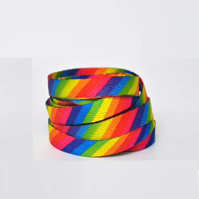 SENTCHARM 1pair New Style Rainbow Colorful Flat Shoelaces Fashion Shoestrings For Casual Shoes Off Shoes