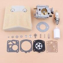 Filtro de ar para carburador, kit de reparo de diafragma compatível com husqvarna 61 66 266 503280316 motosserra tilloson HS 254B carburador RK 23HS