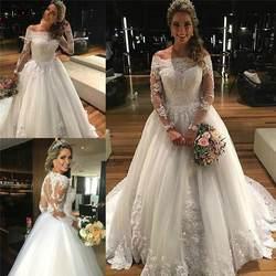 Потрясающие аппликация кружево свадебное платье с длинным рукавом лодка средства ухода за кожей шеи vestido de novia Винтаж Дешевые свадебные