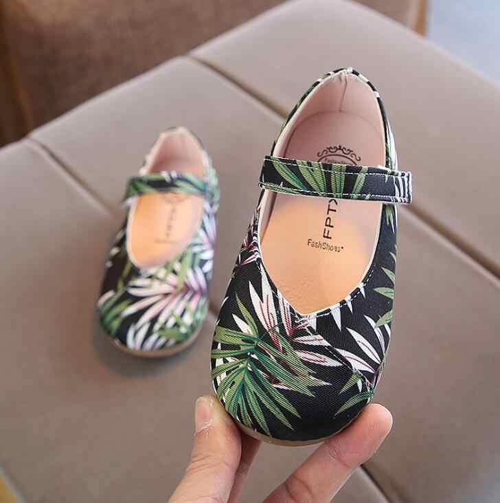 Yapraklar Baskı Çocuklar Kızlar için Daireler Ayakkabı Bahar Sonbahar Yürümeye Başlayan Kız Ayakkabı Esnek Taban Kızlar Ayakkabı Boyutu 21-30
