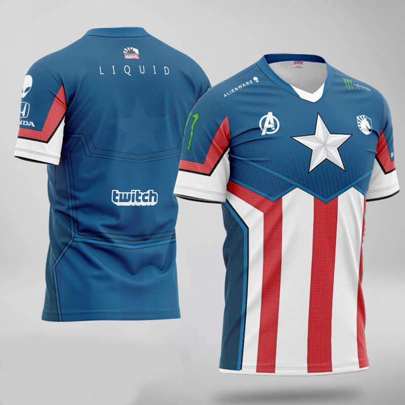 Najwyższa jakość 1: 1 zespół Liquid Avengers Endgame Marvel niestandardowe ID fani Jersey mężczyźni kobiety t-shirty z krótkim rękawem Tee Shirt Homme