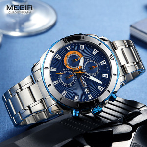Image 2 - MEGIR relojes de cuarzo con cronógrafo para hombre, esfera azul, de pulsera, análogo, de acero inoxidable, a la moda, manecillas luminosas, 2075G 2