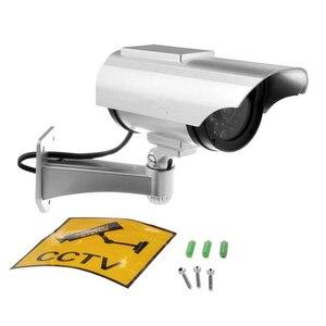 Image 5 - שמש מופעל חיצוני טלוויזיה במעגל סגור אבטחת בית הדמה מזויף Dummy מצלמה עם מהבהב אינפרא אדום LED אורות וידאו מצלמות מעקב