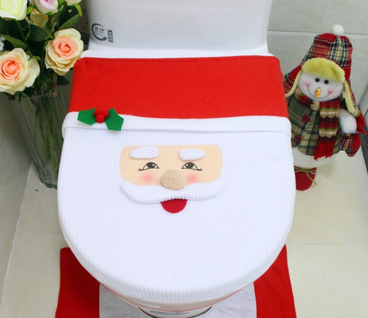 Hot Santa Claus Toilet Seat Cover And Rug Bathroom Set Contour Christmas Decorations For Home Papai Noel Navidad Decor In Covers From