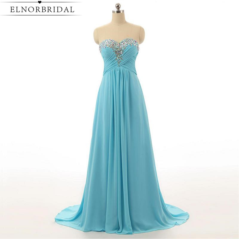 Robe De Bal Sky Blue Prom Dresses Long 2017 Beading Chiffon Sweetheart A Line Formal Women Evening Gowns Imported Party Dress