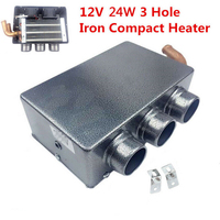 12V 24W Portable Compact 3 Hole Car Heating Heater Defroster Demister Real time Heating