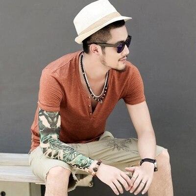 Мужские футболки размера плюс S-XXL, модные новые повседневные хлопковые мужские футболки с коротким рукавом и v-образным вырезом, футболки с принтом - Цвет: Коричневый