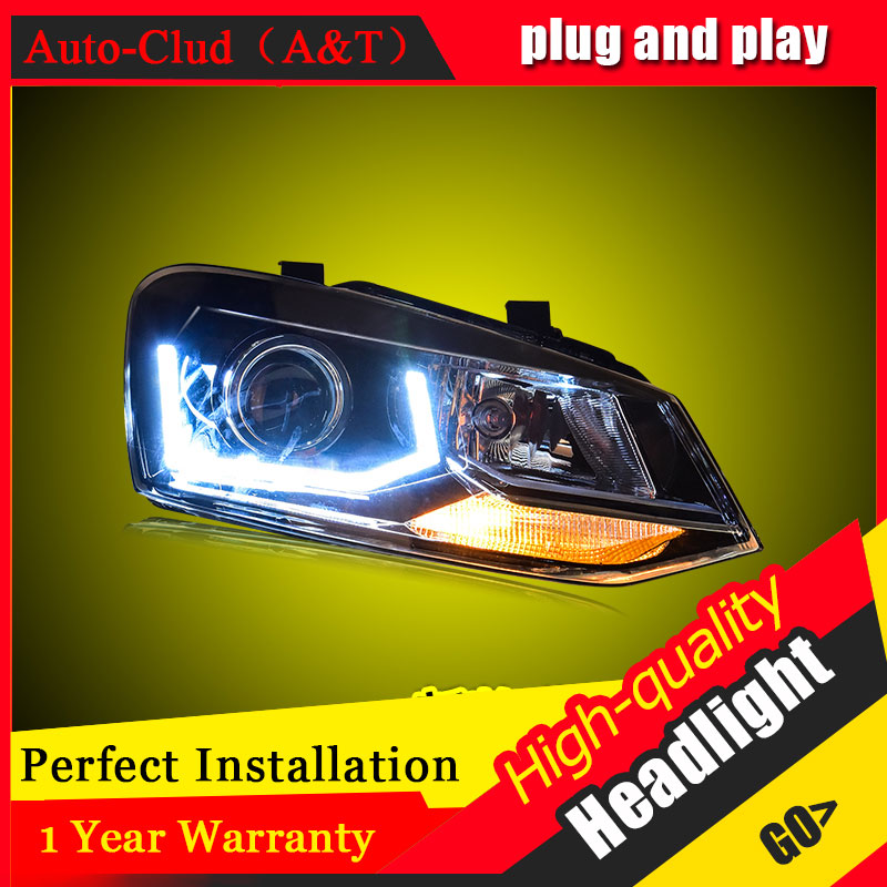 Auto Clud Car Styling For VW POLO headlights 2011-2016 For polo head lamp led DRL front Bi-Xenon Lens Double Beam HID KIT auto clud style led head lamp for nissan teana 2013 2016 led headlights signal led drl hid bi xenon lens low beam