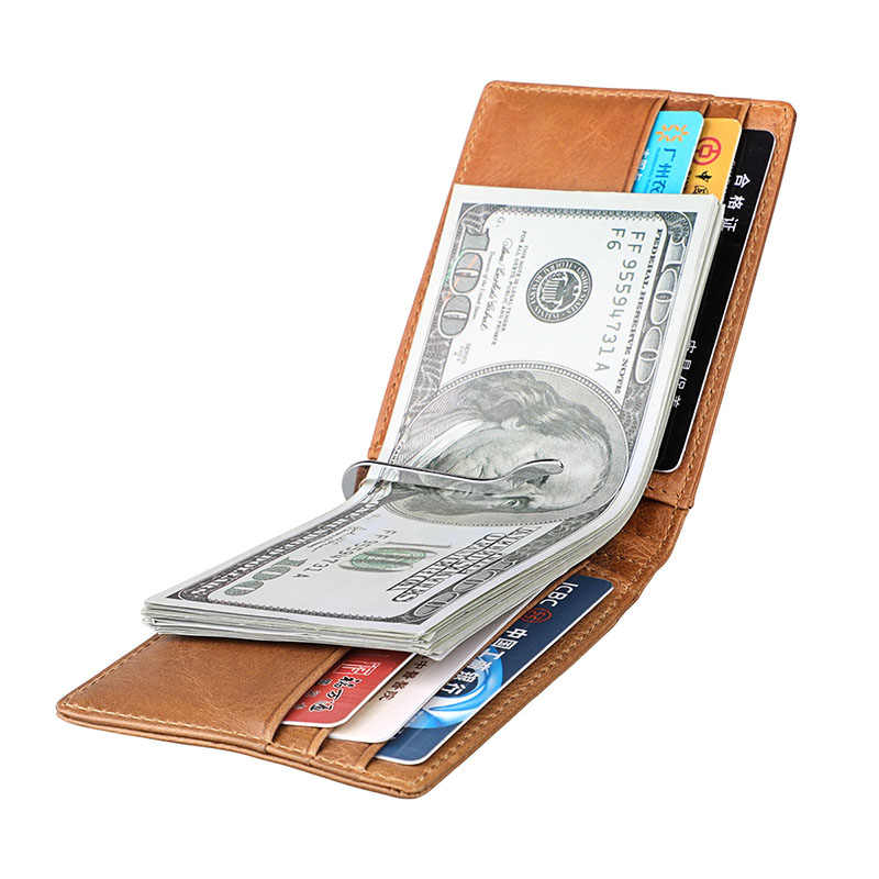 Fashion Genuine Leather Mens Money Clip Wallet Men Women Front Pocket Wallet Buisness Card Clamp for Money Male Slim RFID Purse