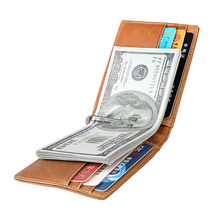 Genuine Cowhide Leather Mens Money Clip Wallet Credit Card Case Holder Metal Clamp for Money Women Red Slim RFID Walet Men Purse(China)