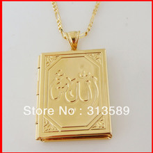 "Min order 1 pcs NEW - GOLD OVERLAY 24"" NECKLACE&MUSLIM ALLAH GOD OPENABLE PENDANT CAN PUT PICTURE/Free Shipping/Great Gift/"