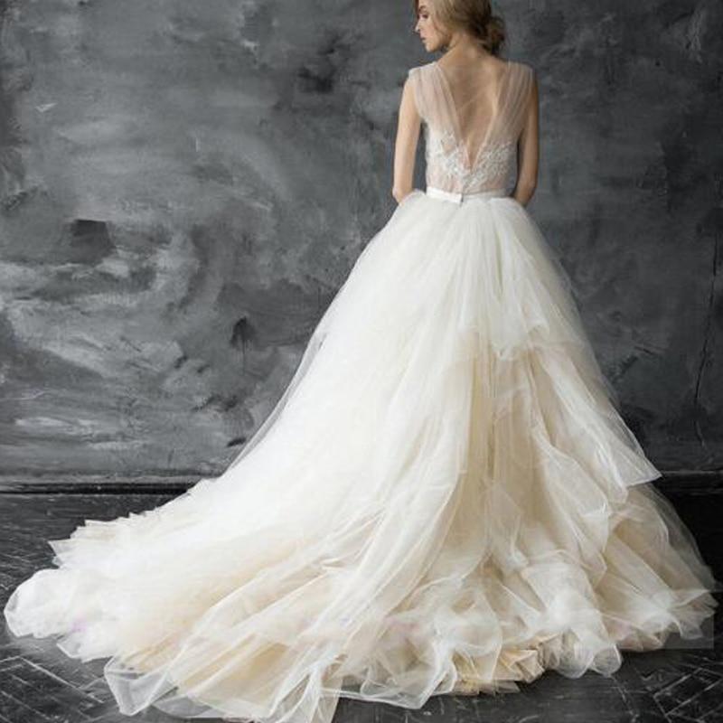 Kadın Giyim'ten Etekler'de Zarif Düğün Etek Katmanlı Fırfır Gelin Yumuşak Tutu Tül Etek Süpürme TrainCustom Made Gelin Yeni Gelen Güzel'da  Grup 2