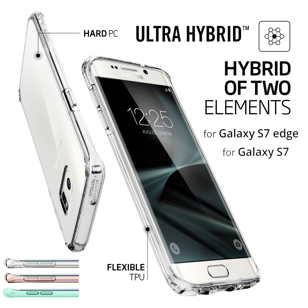 bilder für Aliantech Ultra Hybrid/Kristall Shell Fall für Samsung Galaxy S7 rand/Galaxy S7 mit Clear Rückseite + TPU Rahmen
