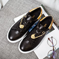 Spring Autumn Fashion Personality Metal Decoration Solid Color Flat With Round Toe Lace Up PU Leather WoMen Casual Shoes