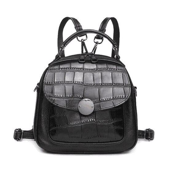 Genuine leather mini size crocodile pattern backpack high
