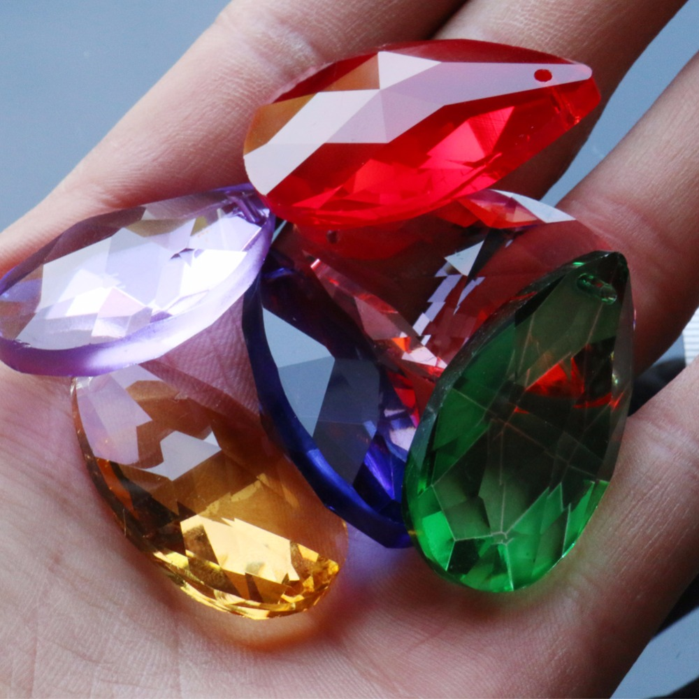 6Pcs/lot Mixed Color Group Tear Drop 38mm Rainbow Glass Crystal Prism DIY Pendant Chandelier Jewelry Suncatcher Spacer Faceted
