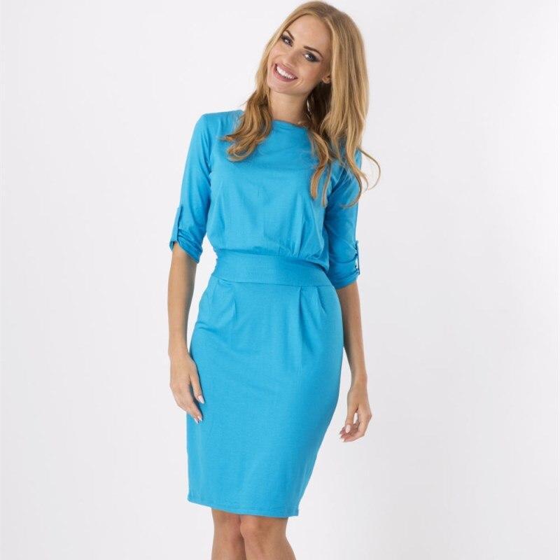 2017 New Womens   Elegant Casual Work Sleeve Deep O-Neck Bodycon Knee Women Office Pencil Dress Plus Big Size