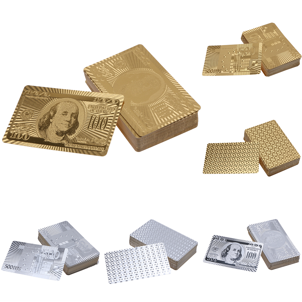 Gold/Silver Luxury Platinum Foil Poker Playing Cards Waterproof Gold Plated Porker Cards Plated set For Pokerstars Board Games