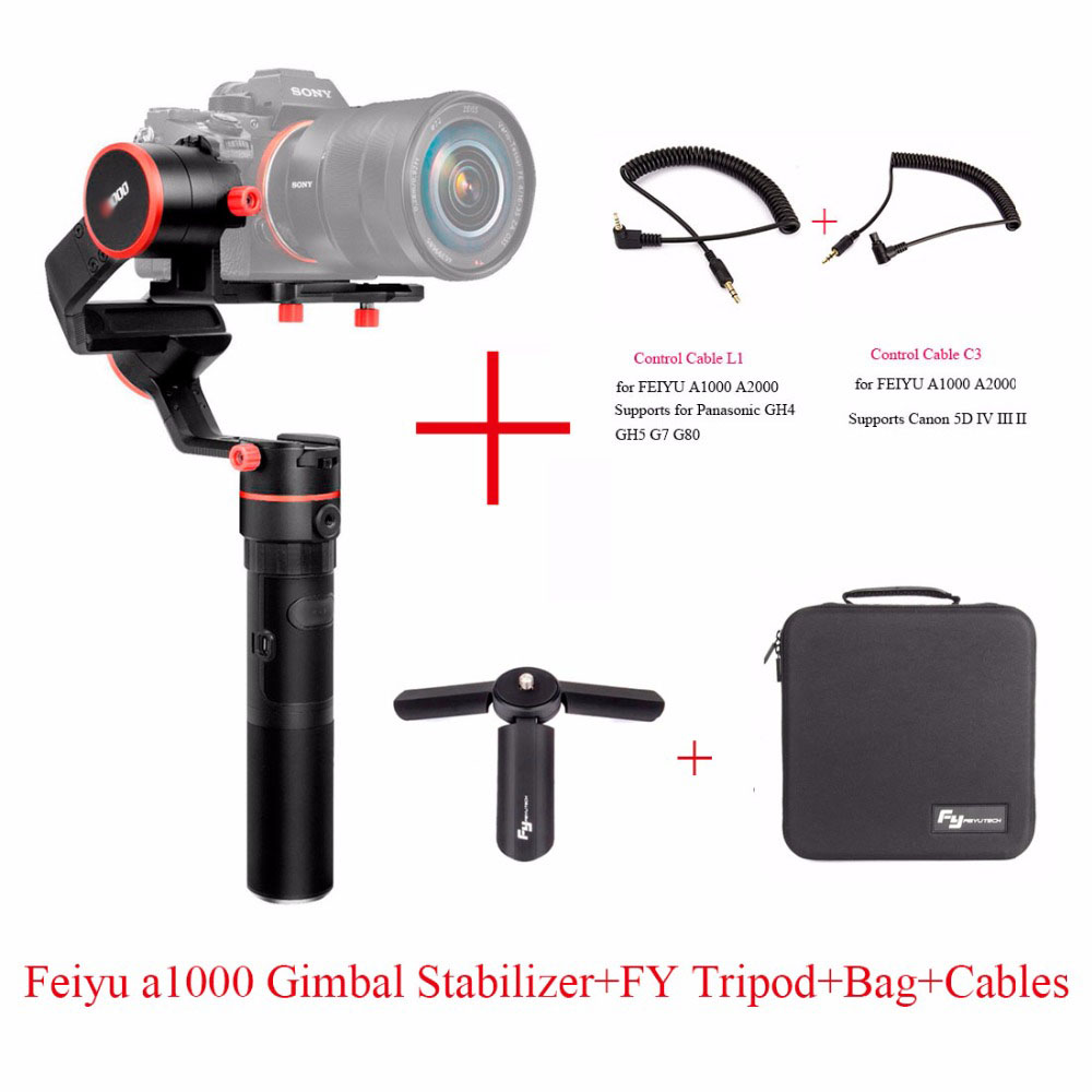 FeiyuTech Feiyu A1000 3 Axe Manipulé Cardan Stabilisateur pour a6500 a6300 iPhone 7 Plus 8 Plus, Sumsung GoPro Hero 5, six choix