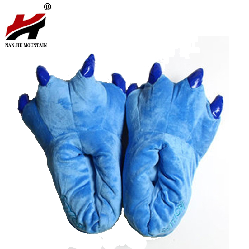 2017 Winter Warm Soft Indoor Floor Slippers Women Men Children Shoes Paw Funny Animal Christmas Monster Dinosaur Claw Plush Home suihyung new winter warm women home slippers plush indoor shoes funny bear pattern cotton padded shoes house bedroom floor shoes