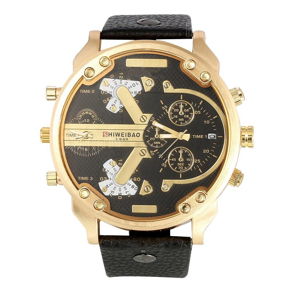 Shiweibao A3137 Big Dial DZ style Male Dual Movt Quartz Watch Leather Band Men Military Wristwatch relogio masculino