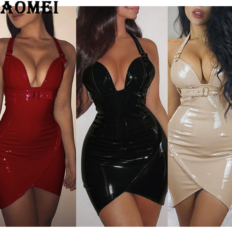 Women PU Dress 2020 Sexy Tight Deep V Neck PVC Wet Look Leather With Waist Belt Sheath Slim Dresses Red Black Bodycon Club Wear