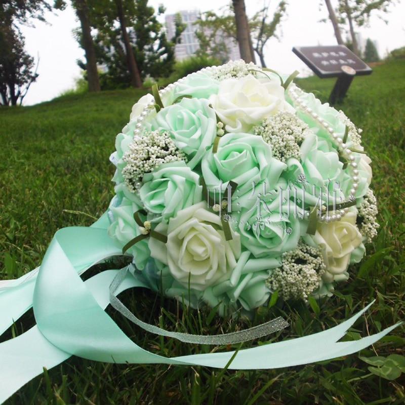 2018 mujer Artificial Ramos de la boda 30 flores hechos a mano Rose - Accesorios de boda