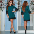 New Spring Summer Women's Party Dress Casual Half Sleeved Lace Sheath Bodycon Mini Dresses Vestidos Street Dresses Dark Green
