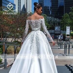 Image 3 - Swanskirt Vestido de novia de satén con apliques elegantes, cuello Barco, manga larga de encaje, línea A, Vestido de novia Princesa, F135 Vestido de novia, 2020