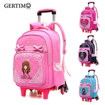 2019  Kids Travel Trolley Backpack On wheels Girls School bags Childrens luggage Rolling Bag Backpacks